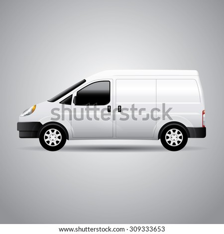 Realistic delivery van vector illustration. Perfect for applying advertising and company graphics (branding). - stock vector