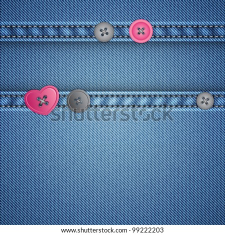 realistic denim and sewing buttons, vector background - stock vector