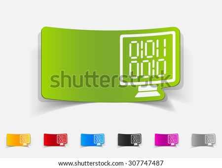 realistic design element. computer screen with binary - stock vector