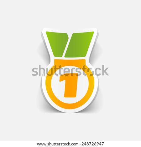 realistic design element: medal - stock vector