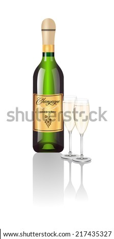 Realistic design of green bottle of classic champagne with reflection and two full champagne glass. Gold label with yellow grape. vector art image illustration, isolated on white background, eps10 - stock vector