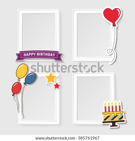 Realistic design photo frames on white background. Decorative template for baby, family or memories. Scrapbook concept, vector illustration. Birthday - stock vector