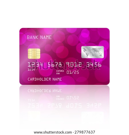 Realistic detailed credit card purple bokeh lights design isolated on white background. Vector illustration EPS10 - stock vector