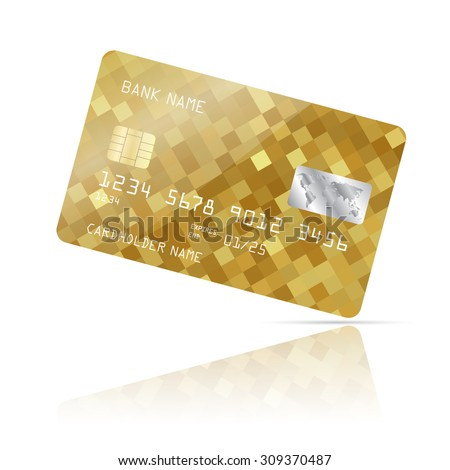 Realistic detailed credit card with abstract geometric gold design isolated on white background. Vector illustration EPS10 - stock vector