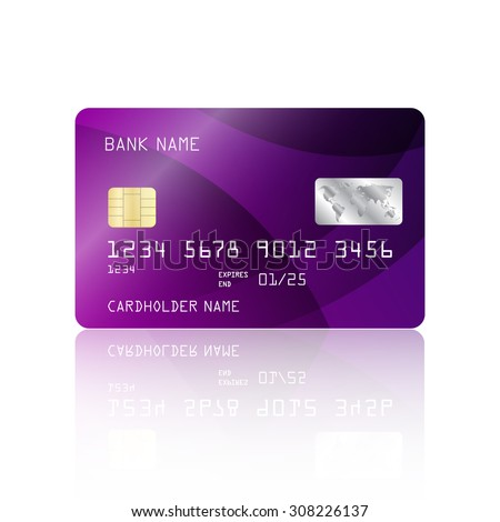 Realistic detailed credit card with abstract geometric purple design isolated on white background. Vector illustration EPS10 - stock vector