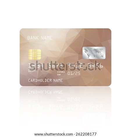Realistic detailed credit card with beige geometric triangular design isolated on white background. Vector illustration EPS10 - stock vector