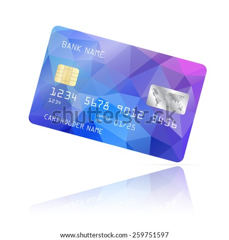 Realistic detailed credit card with blue and purple  geometric triangular design isolated on white background. Vector illustration EPS10 - stock vector