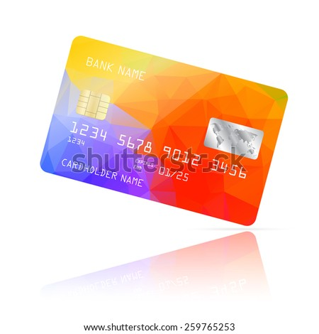 Realistic detailed credit card with colorful geometric triangular design isolated on white background. Vector illustration EPS10 - stock vector
