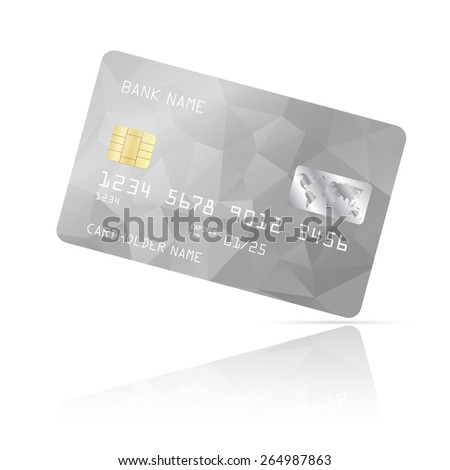 Realistic detailed credit card with grey geometric triangular design isolated on white background. Vector illustration EPS10 - stock vector