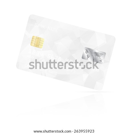 Realistic detailed credit card with white geometric triangular design isolated on white background. Vector illustration EPS10 - stock vector