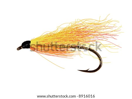 Realistic,detailed fly fishing lure in yellow and orange colors. Layered and grouped. - stock vector