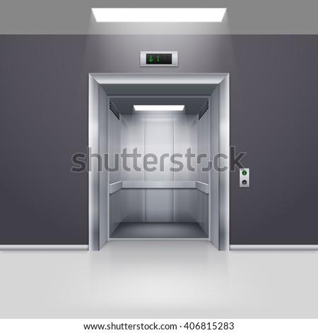 Realistic Empty Modern Elevator with Open Door in Hall - stock vector