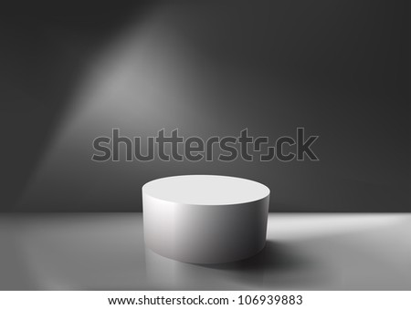 Realistic empty white podium, EPS10 vector. - stock vector