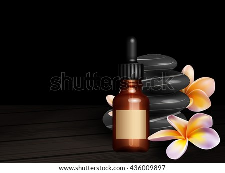 Realistic essential oil bottle, frangipani flowers and zen stones - stock vector
