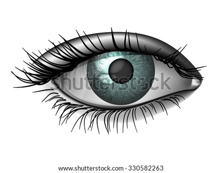 Realistic female eye close up, wide open - stock vector