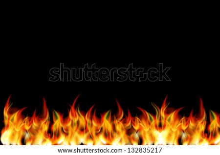 Realistic fire vector on black background - stock vector