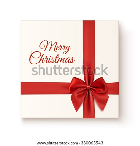 Realistic gift icon isolated on white background, top view. Merry Christmas greeting card template. Vector illustration. - stock vector