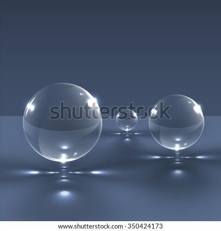 Realistic glass spheres, vector - stock vector