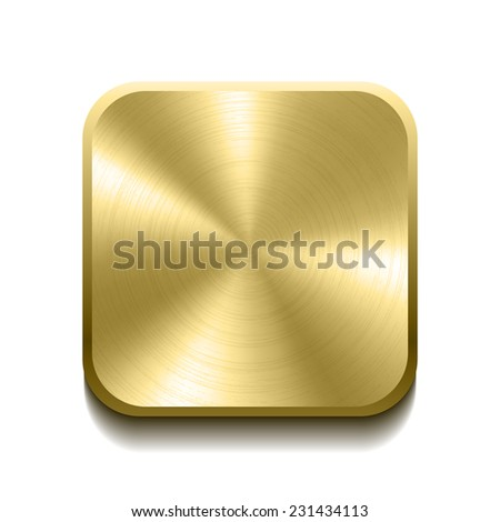 Realistic gold button with circular processing. Vector illustration - stock vector