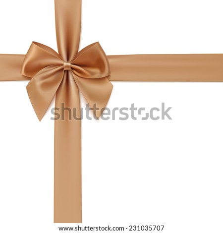 Realistic golden bow and ribbon isolated on white background. Vector illustration - stock vector