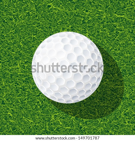 Realistic golf ball on the grass - stock vector