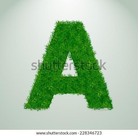 Realistic grass alphabet vector illustration eps10/ - stock vector