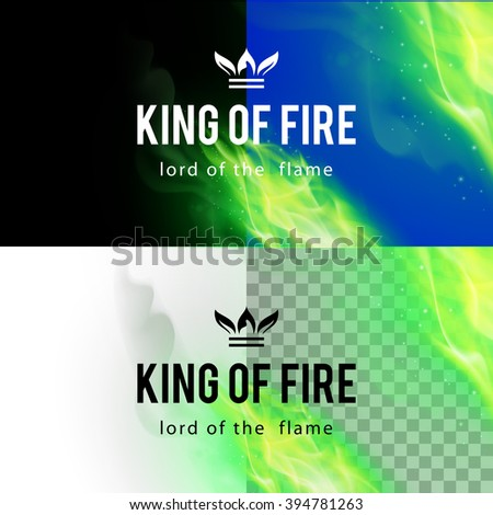 Realistic Green Fire Flames Effect on Differents Backgrounds - stock vector