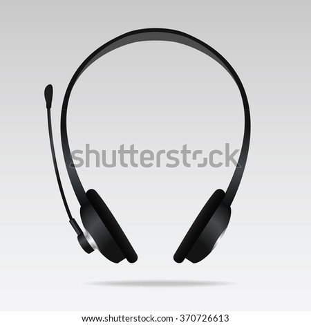Realistic Headphones with microphone. Vector illustration - stock vector