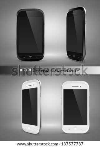 Realistic, high detailed, fully editable vector illustration of modern smartphone on gray background. - stock vector