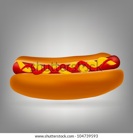 Realistic hot dog icon vector illustration - stock vector