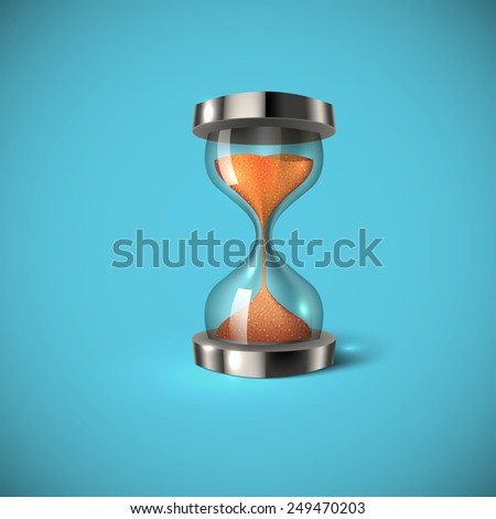 Realistic hourglass on blue background. Sand clock icon 3d style vector illustration. - stock vector