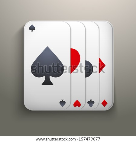 Realistic icon deck of playing cards for casino. Bright symbols of gambling. Vector Illustration, editable and isolated. - stock vector
