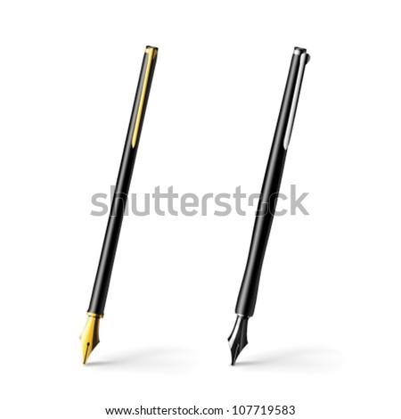 Realistic illustration of gold pen - vector - stock vector
