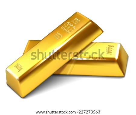 Realistic illustration of golden bars on the white background - vector illustration - stock vector