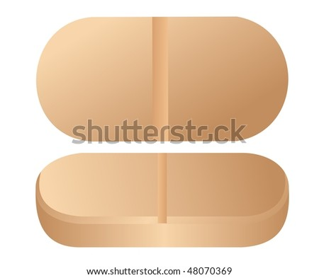Realistic  illustration of pill is  isolated on white background. Vector - stock vector