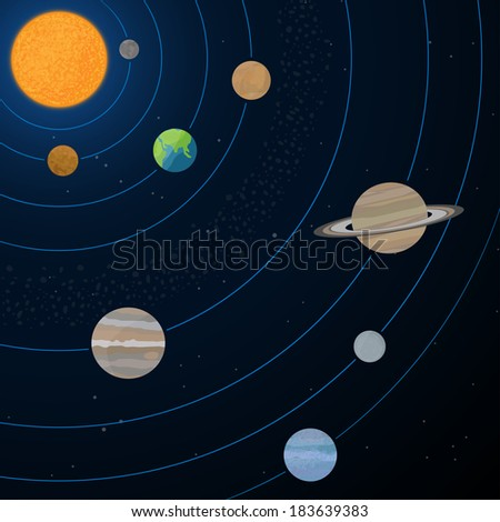 Realistic illustration of solar system with sun and planets on the space background. - stock vector