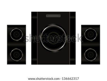 Realistic illustration of stereo speakers - stock vector