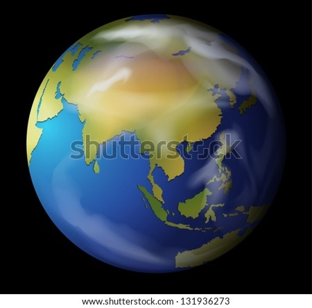 Realistic illustration of the Earth on black - stock vector