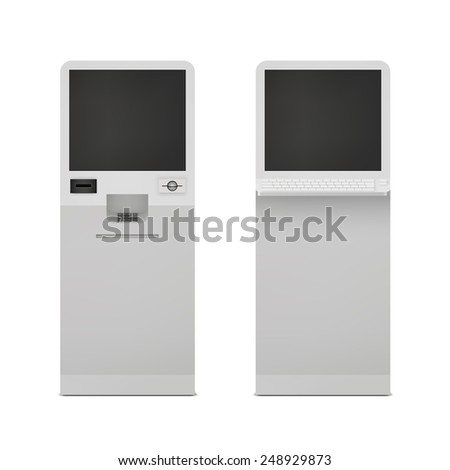 Realistic information self service terminal computer stand set isolated vector illustration - stock vector