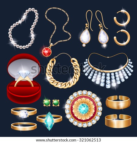 REalistic jewelry accessories icons set. Necklace bracelet gold chain diamond pearl earrings pendant rings vector illustration. - stock vector