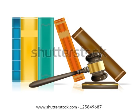 realistic justice gavel and books - stock vector