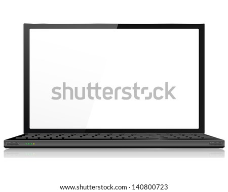 Realistic Laptop or Notebook Computer in Black - Vector with grouped items, named layers and with a separate layer to easily add your own image to laptop screen - stock vector