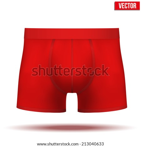 Realistic layout of Male red underpants brief. A template simple example. Editable Vector Illustration isolated on white background. - stock vector