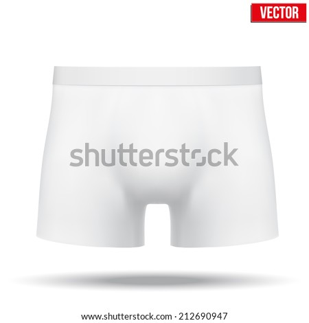 Realistic layout of Male white underpants brief. A template simple example. Editable Vector Illustration isolated on white background. - stock vector