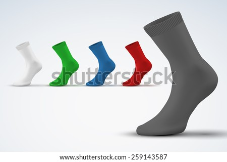 Realistic layout of socks. A template simple example. vector illustration, isolated on white background - stock vector
