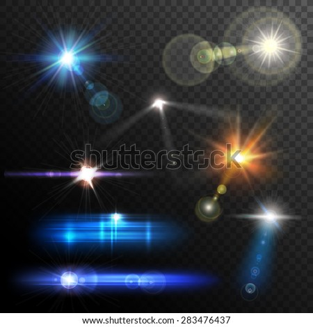 Realistic lens flares beams and flashes on transparent background vector illustration - stock vector
