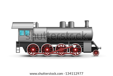 Realistic Locomotive isolated on white background. Vector Illustration - stock vector