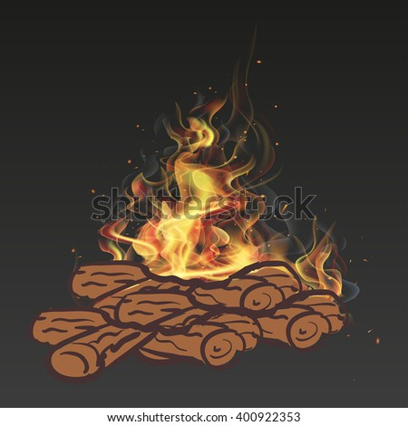 Realistic log fire in the fire  ash - stock vector