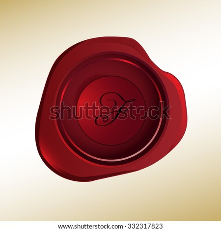 Realistic looking red wax stamp with the initial F - stock vector
