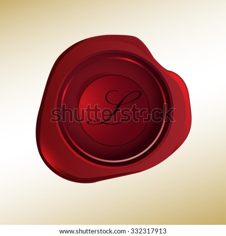 Realistic looking red wax stamp with the initial L - stock vector